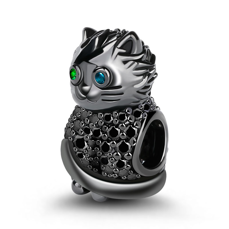 Gnoce Quot Black Cat Quot S925 Sterling Silver Black Plated Cat