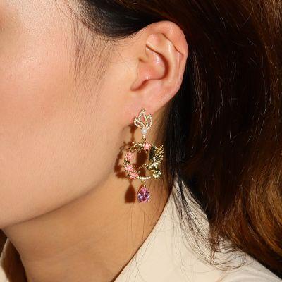 Hummingbird Flower Earrings