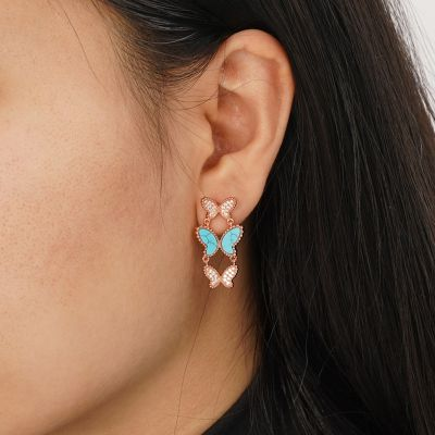 Turquoise Butterflies Studs