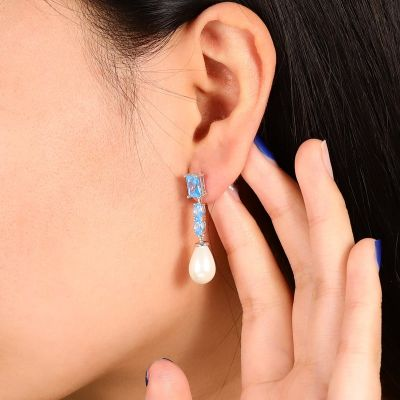Pearl Blue Gems Dangle