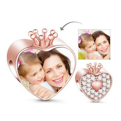 Crown Heart Photo Charm