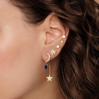 Star and Moon Gems Earrings Set