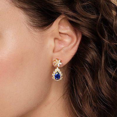 Dark Blue Blooming Dangle Earrings
