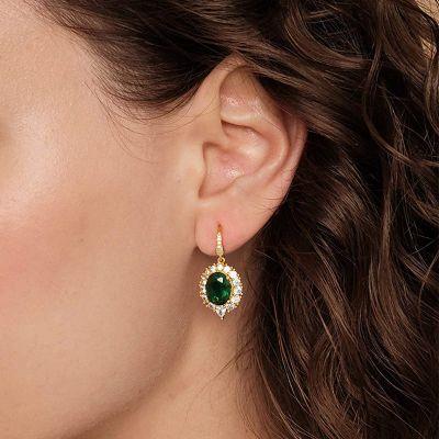 Green Sapphire Dangle Earrings