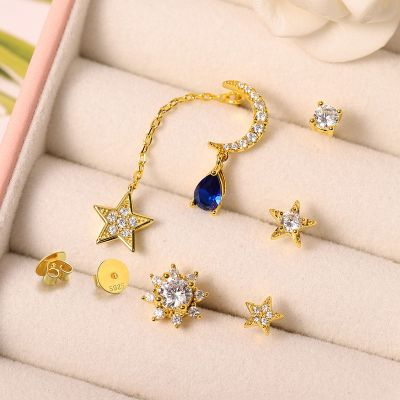 Star and Moon Gems Earrings Set