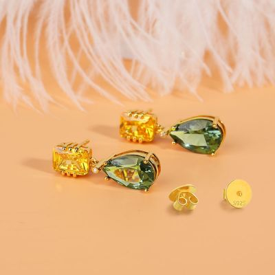 Peridot Gemstone Drop Earrings