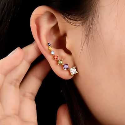 Square Cut Climbers Earrings