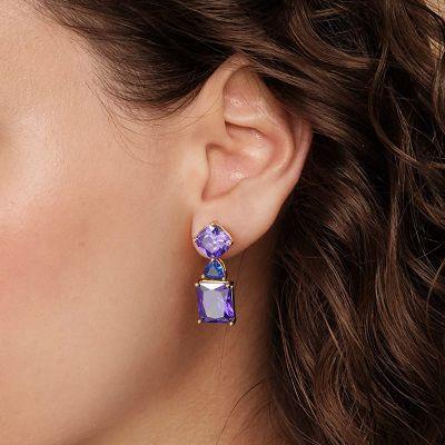 Purple Gemstone Dangle Earrings