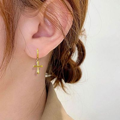 Cross Hoop Earrings 18k