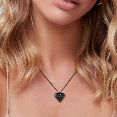 Heart Shaped Double Skull Necklace