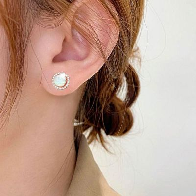Round Stud Earrings with Opal