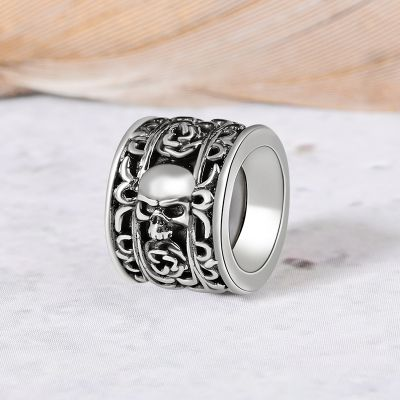 Skull & Rose Charm Vintage Bead S925 Sterling Silver Jewelry for Men