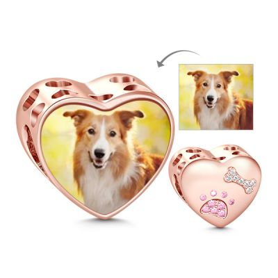 Paw Print Heart Photo Charm