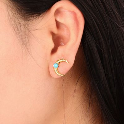 Turquoise Moon Ear Studs