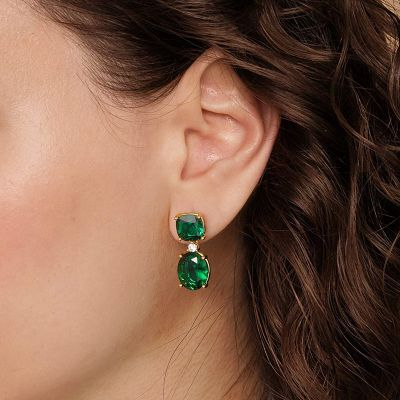 Large Green Gemstones Dangle