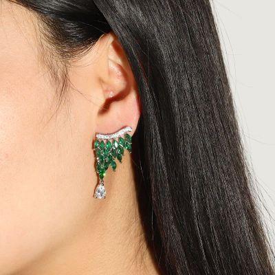 Green Crystal Drop Earrings