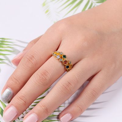 Colorful Round Crystal Ring