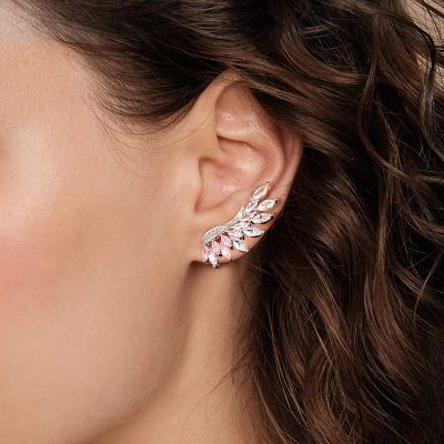 Pink Marquise Ear Climbers