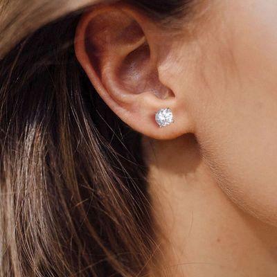 Round Stone Stud Earrings