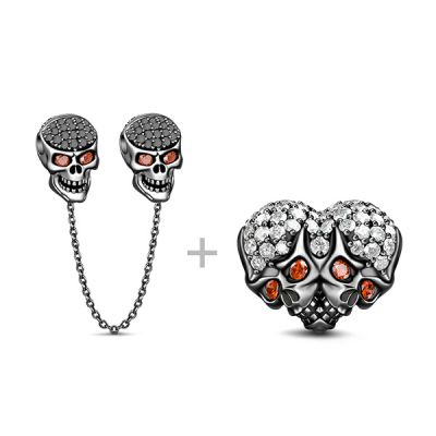 Skull Heart Charms Set