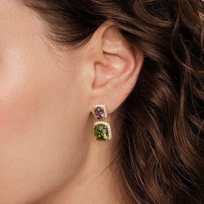 Radiant Sapphire Drop Earrings
