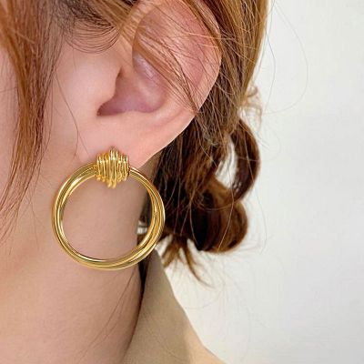 Retro Entwine Front Hoop Earrings 18K Gold Plated Brass