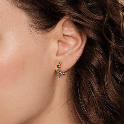 Triangle Blue Hoop Earrings