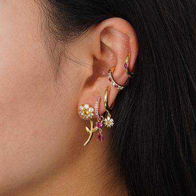 Natural Daisy Cuff Earrings Set