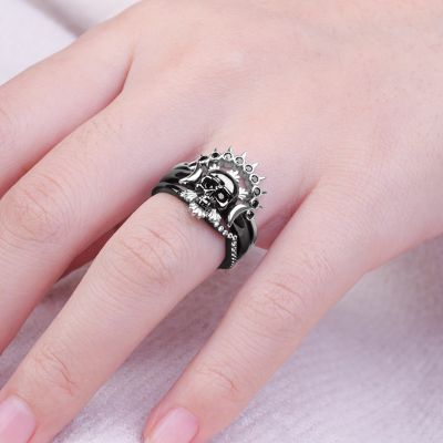 Black Skull Stackable Ring