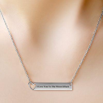 Silver Heart Bar Necklace
