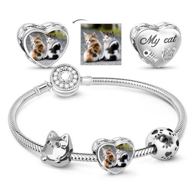 Meow Cat Photo Charm Bracelet With Paw Bead Sterling Silver