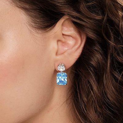 Azure Gemstone Dangle Earrings