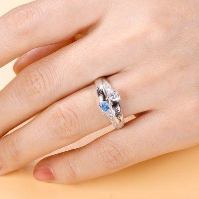 Double Heart Stones Ring