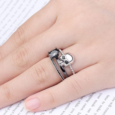 Skull Ring Stackable 3 Pieces