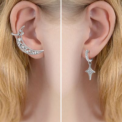 Moon & Star Cuff Earrings