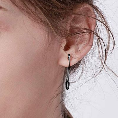 Black Paperclip Earrings