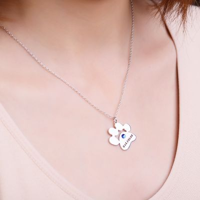 Paw-Shaped Name Necklace