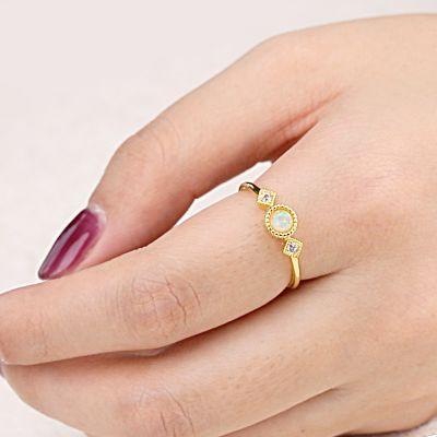 Opal Star Moon Ring