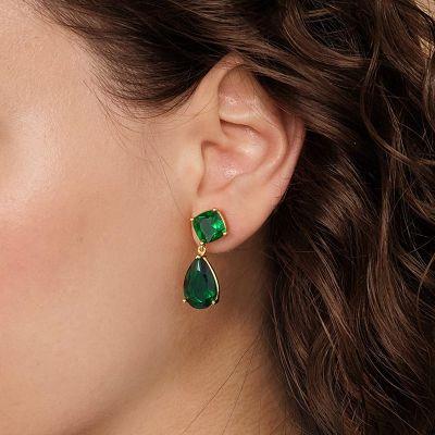 Large Green Sapphire Dangle Earrings