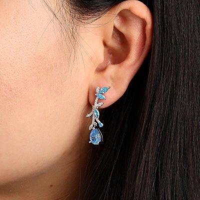 Aquamarine Silver Drop Earrings