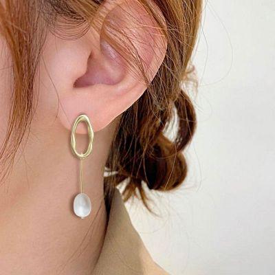 Pearl Hoop Dangle Earrings