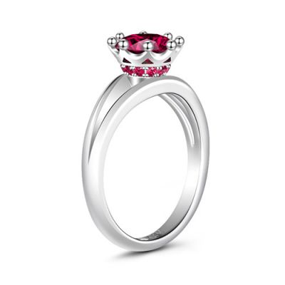 Rouund Cut Fuchsia Ring