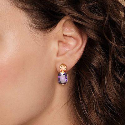 Purple Gemstone Drop Earrings