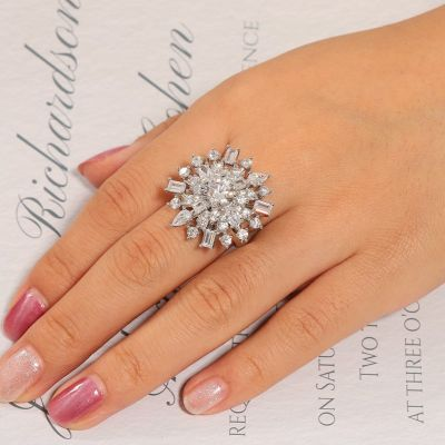 White Snowflake Ring