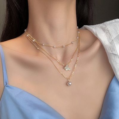 Layered Butterfly Pearl Necklace