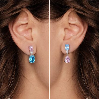 Blue and Pink Asymmetric Earrings