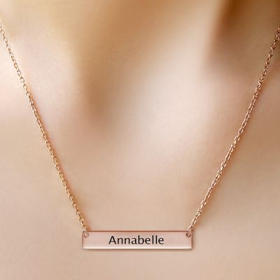 Classic Rose Gold Bar Necklace