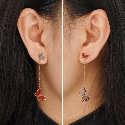 Black Fritillary Agate Drop Earrings