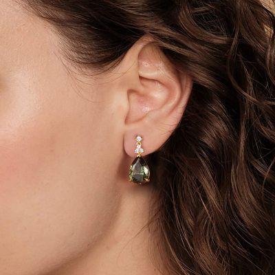 Dark Green Crystal Stud Earrings