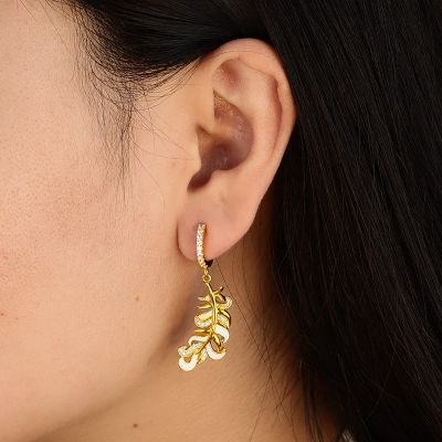 Feather Hoop Drop Earrings